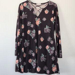 Tilly's Velvet Floral Long Sleeve Dress